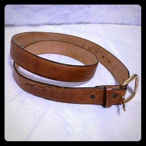 Tony Lama Belt Leather Gold Buckle Classic 42 Tan